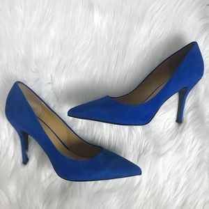 Nine West Flax Pointed Toe Pumps Blue Suede Sz. 10